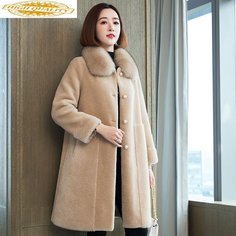 2020 Winter Real Fur Coat Women Long 100% Wool Jacket Fox Fur Collar Korean Clothes Fur Coats Manteau Femme 19527 KJ3707