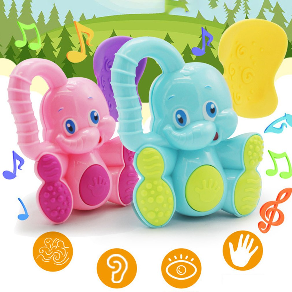 1pc Cartoon Elephant Animal Plastic Hand Jingle Shaking Bell Rattles Toddler Infant Sound Educational Baby Toys For Children