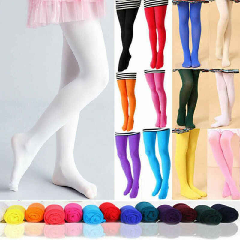 2020 Cute Girls Kids Tights Opaque Pantyhose Hosiery Ballet Dance Stockings Candy Colors 1Pair Age 1-12Y