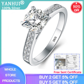 Free Sent Certificate Solid 925 Silver Wedding Rings For Women 1 Carat Lab Moissanite Ring Natural Zirconia Diamond Fine Jewelry yanhui with certificate 1 carat 2 carat gemstones zirconia diamond ring 925 sterling silver jewelry wedding bands for women