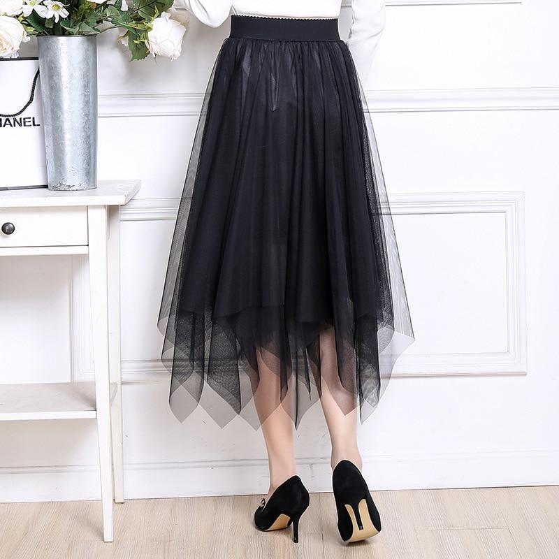 2019 Spring Summer New Style Korean-style Gauze Skirt Women's Mid-length Elegant Irregular Mesh Dress Fairy Skirt
