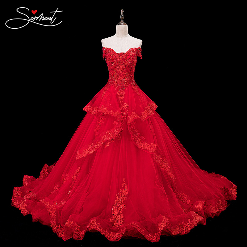 SERMENT Noble Luxury Church Wedding Dress Empire Off The Shoulder Ball Gown Back Lace Up Cathedral Lacework Applique