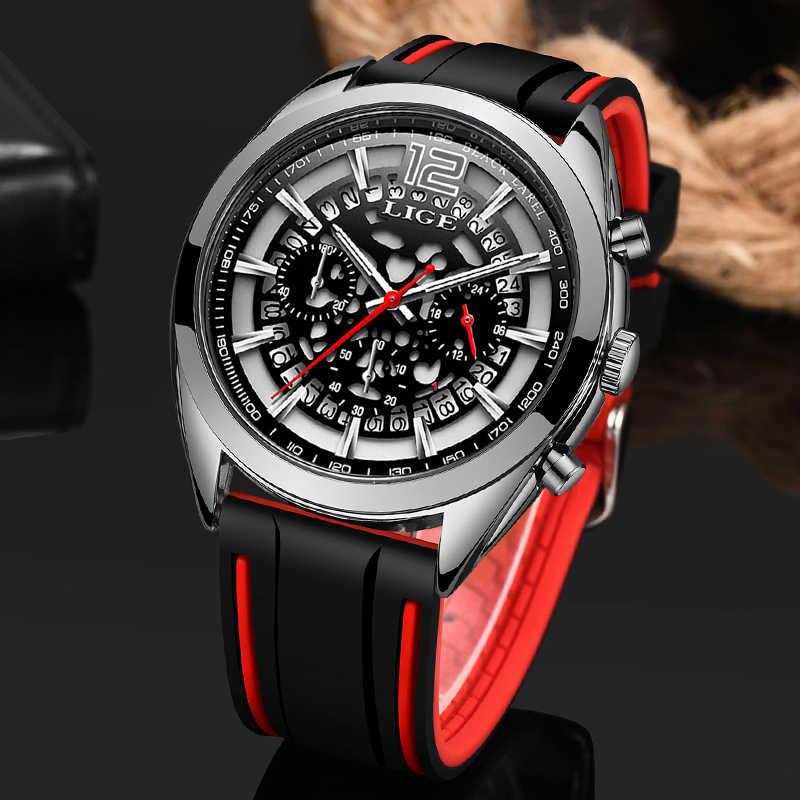 Montre Homme LIGE erkek saatler askeri spor saat erkekler silikon ajur izle üst marka lüks kuvars saat Relogio Masculino