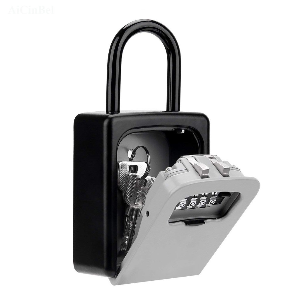Boxes Indoor Outdoor Key Lock Box Wall Mounted Aluminum Alloy Key Safe Box Weatherproof 4 Digit Combination Keys Storage Lock