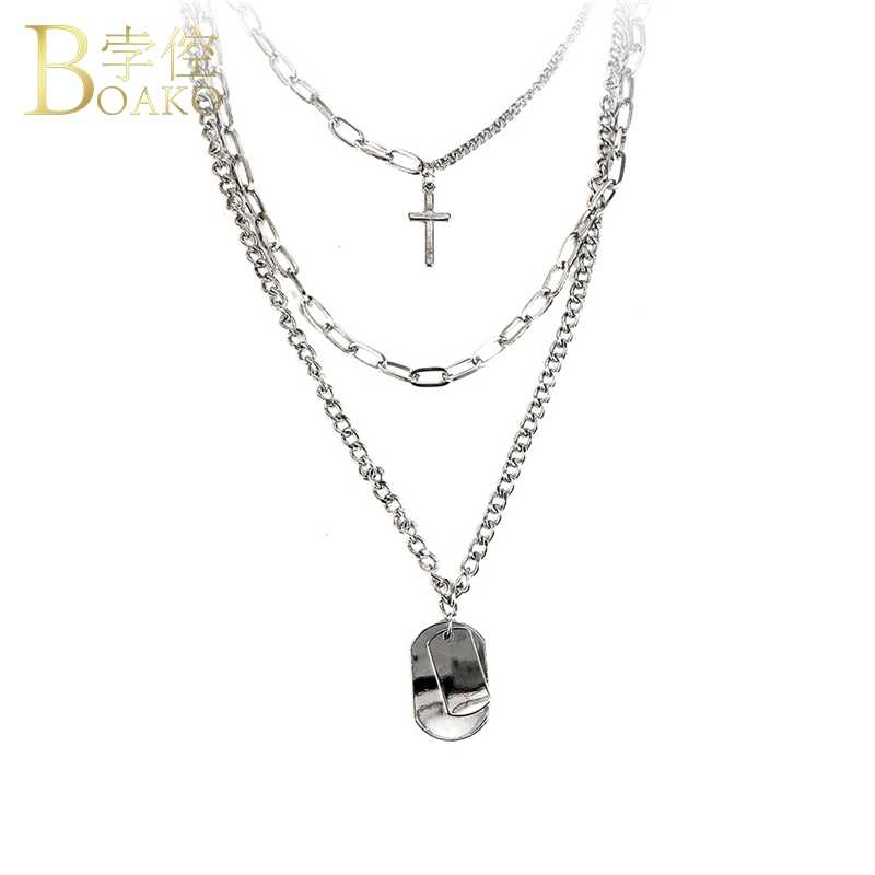 BOAKO Rapper สร้อยคอสร้อยคอเหรียญจี้สร้อยคอยาวสร้อยคอ Link Chain เครื่องประดับ hip hop Punk Girl collier k5