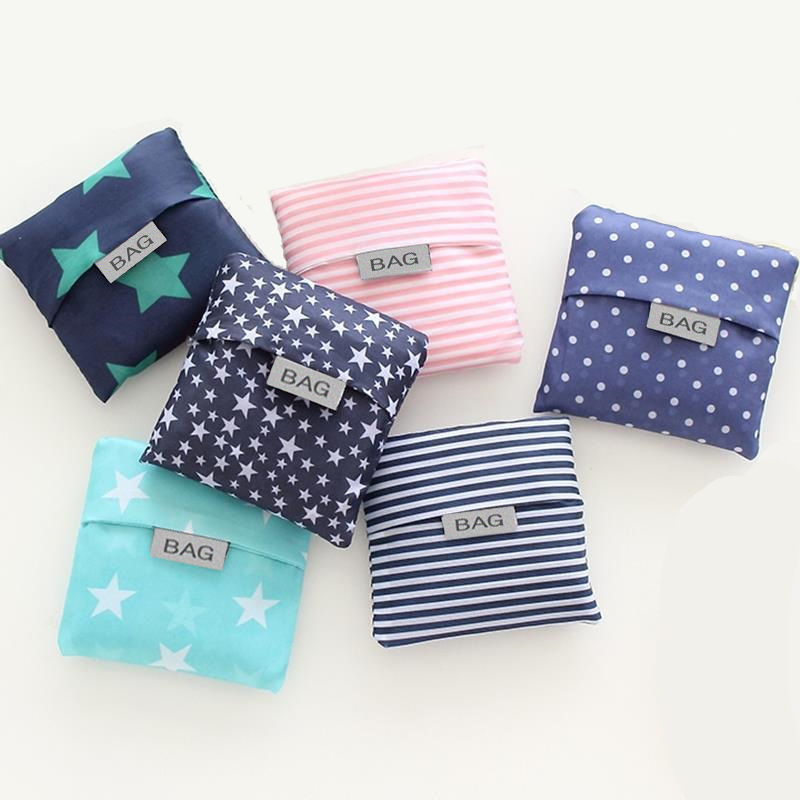 ETya 30*53cm Square Eco Foldable Grocery Recycle  Tote Bags Fashion Nylon Star Stripe Dot Print Reusable Shopping Bag