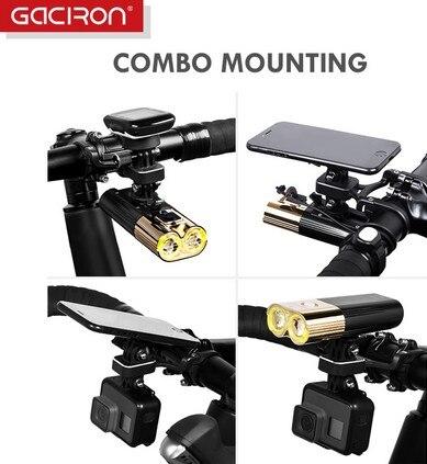 GACIRON H09 support d'extension vélo support de lumière supports de montage de téléphone multifonction en alliage d'aluminium signifie caméra de mouvement