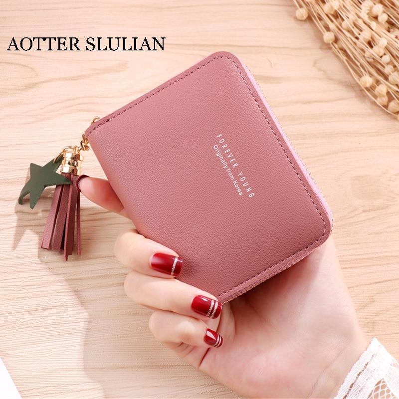 AOTTER SLULIAN новейший женский кошелек на молнии милый многофункциональный держатель для карт с кисточками маленький кошелек стильный женский