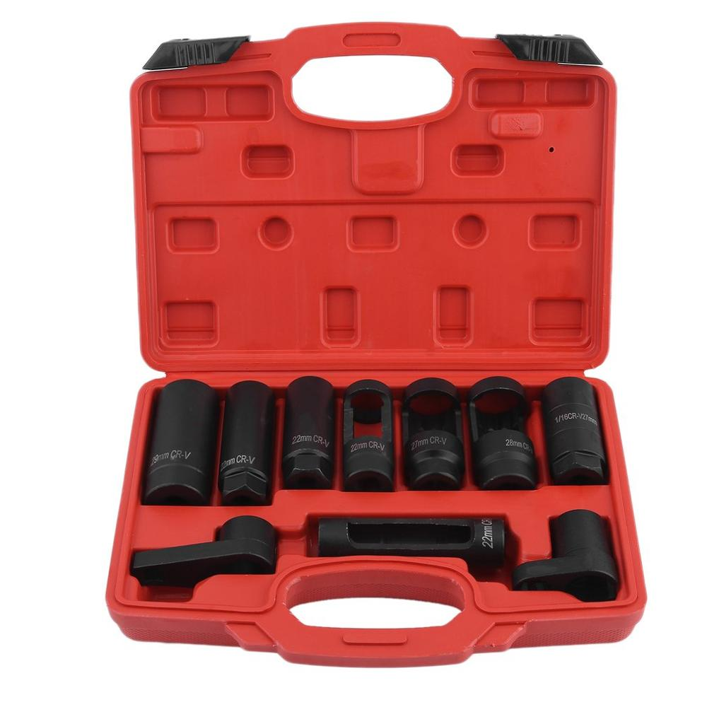 10 PCS Oxygen Sensor Injector Removal Oil Pressure Sending Sleeve Socket Wrench Disassemble Tool Set