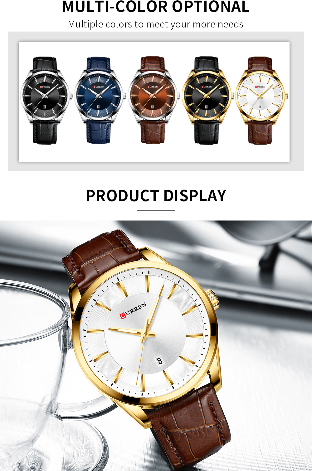 CURREN Quartz Watches for Men Leather Strap Male Wristwatches Top Luxury Brand Business Men's Clock 45 mm Reloj Hombres Hd5184b5786444f89a6a297b1c8d122abL