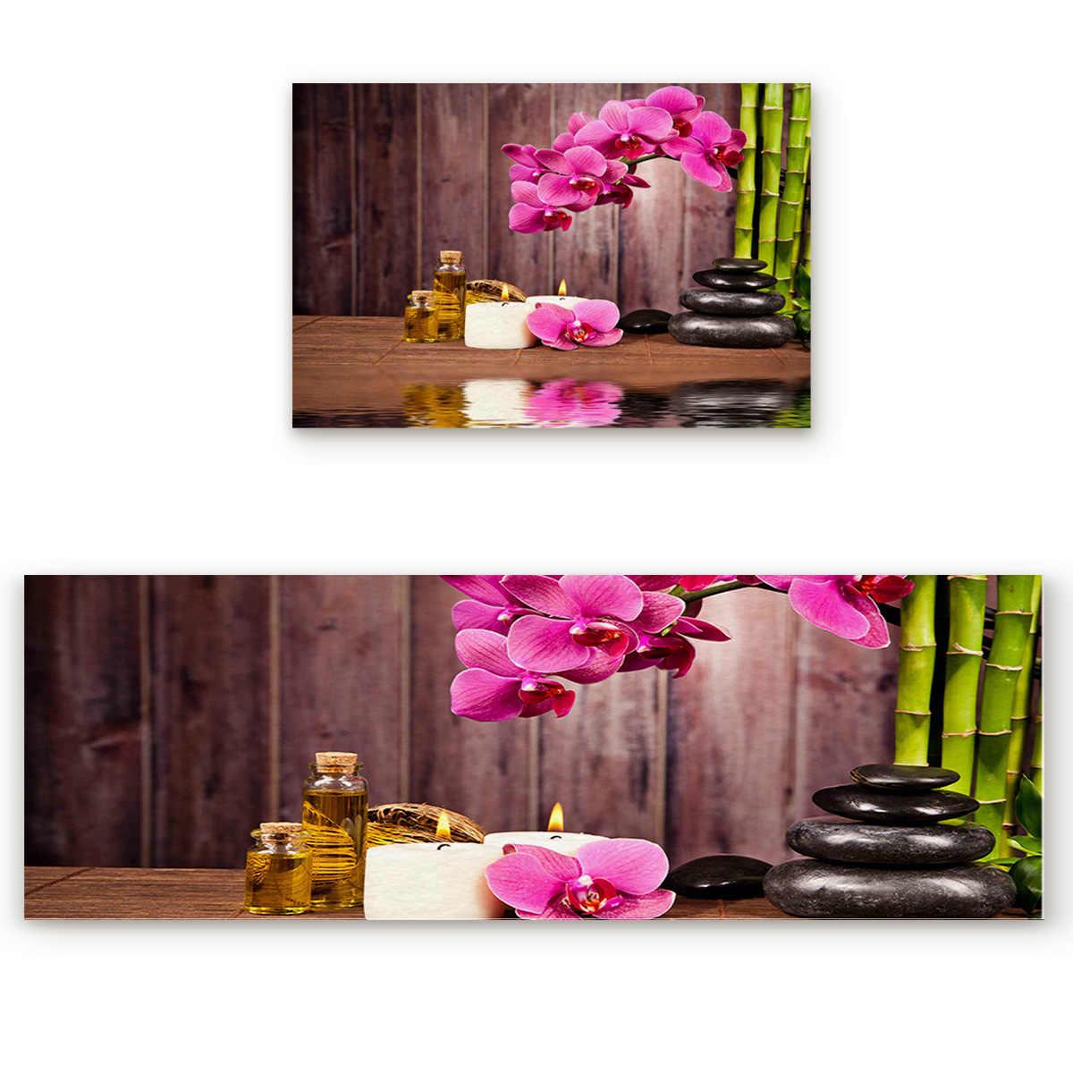 2 ชิ้น/เซ็ตสปาหินดอกไม้ไม้ไผ่ห้องครัวอุปกรณ์เสริมประตู Tapete Doormats ห้องน้ำพรมปูพื้น Mats พรมบ้าน