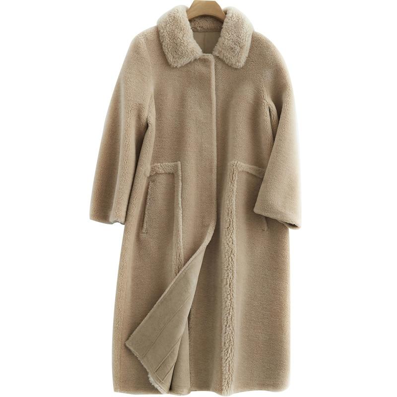 Real Fur Coat Wool Jacket Autumn Winter Coat Women Clothes 2020 Korean Vintage Sheep Shearling Suede Lining Women Tops ZT3772