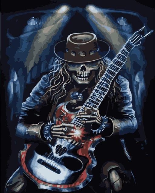Paint By Numbers Adult Kit Guitar Skeleton Heavy Metal Grunge Fantasy Gothic