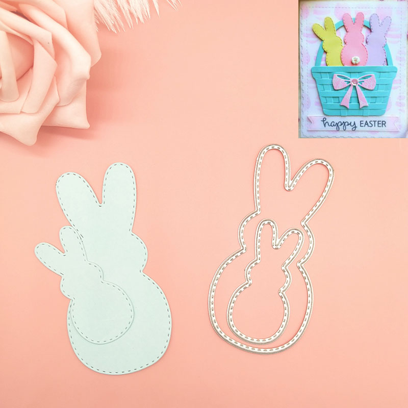 Easter-cute-2-Bunnies-Bunny-rabbit-Metal-Cutting-Dies-cutter-Knife-mold-Stencils-For-Card-Making