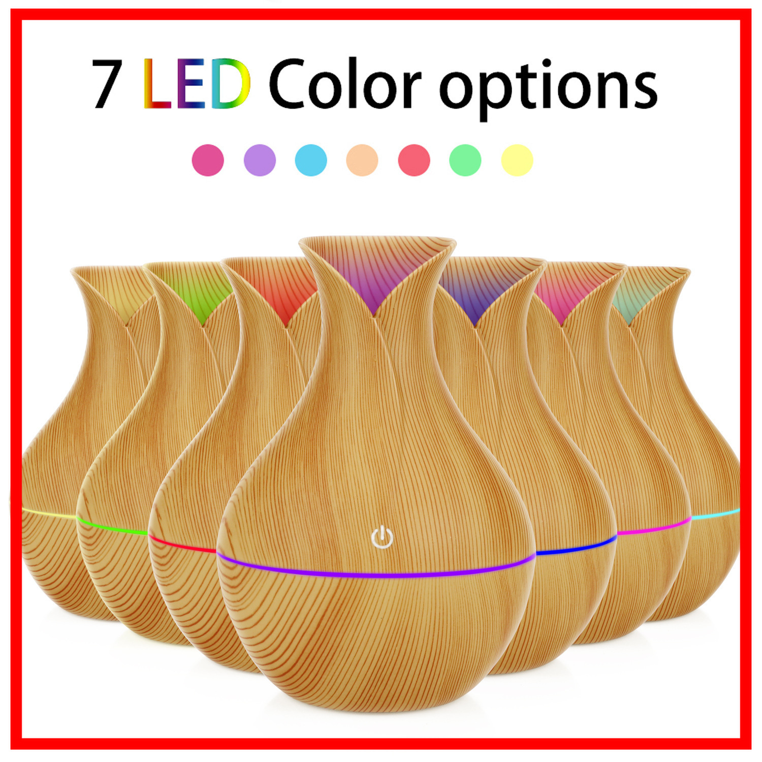 Electric Humidifier Aroma Oil Diffuser Ultrasonic Wood Air Humidifier USB Cool Mini Mist Maker LED Lights For Home Office