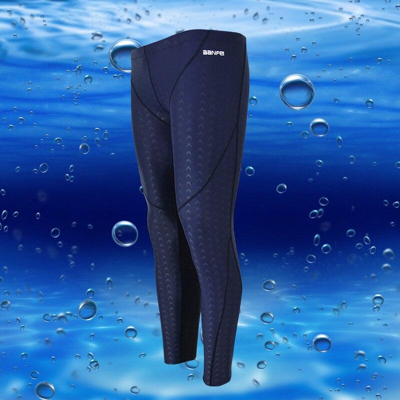 Waterproof Quick-Drying Sun-resistant Faux Sharkskin Long Legs Competition MEN'S Swimming Trunks Capri Winter Swimming Diving Su