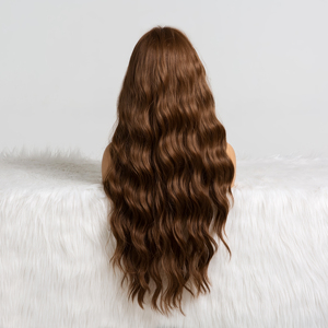 Image 5 - ALAN EATON Long Wavy Brown Wig with Bangs Synthetic Wigs for Black Women Heat Resistant Fiber Cosplay Party Natural Hair Wig