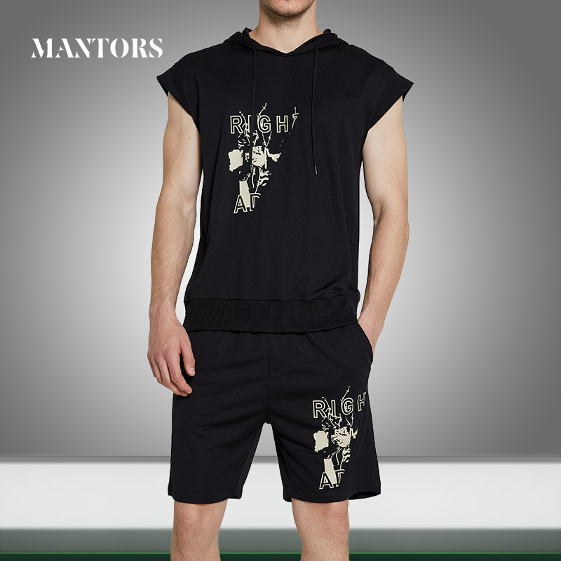 2020 Summer New Men Vest Set Solid Print Casual Hoodies Sleeveless Tracksuit Male Jogging T Shirts+Pants 2PC Sets Hooded Outwear