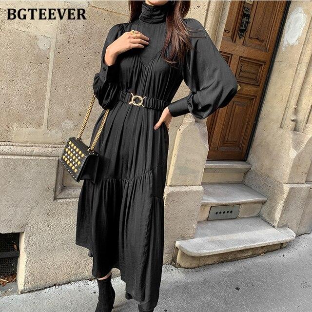 Elegant Long Sleeve A-line Turtleneck Dress  5