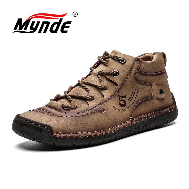 Mynde New Men's Boots Winter With Fur Keep Warm Snow Boots Men Shoes Footwear Fashion Male Winter Leather Ankle Boots Size 39-48
