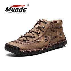 Mynde novo botas masculinas inverno com pele manter quente botas de neve calçados masculinos moda inverno botas de tornozelo de couro tamanho 39-48