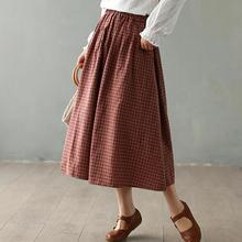 Skirt Pockets Plaid Johnature Mid-Waist Spring Women Plus-Size 2-Color Elastic Loose