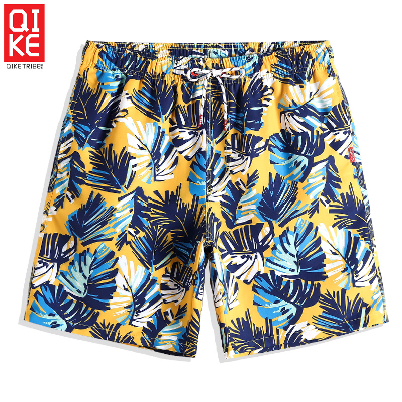 Swimming trunks Men's Sexy   Board     shorts   Leaves Quick dry surfing Briefs joggers Swimwear Printed swimsuit plavky Beach   shorts