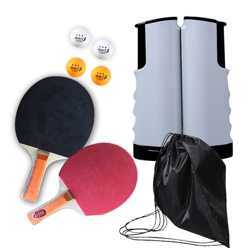 Table Tennis Racket Set Ping Pong Portable Retractable Net Professional Sport Club Training Set Rubber Red Ping Pong Racket Bat
