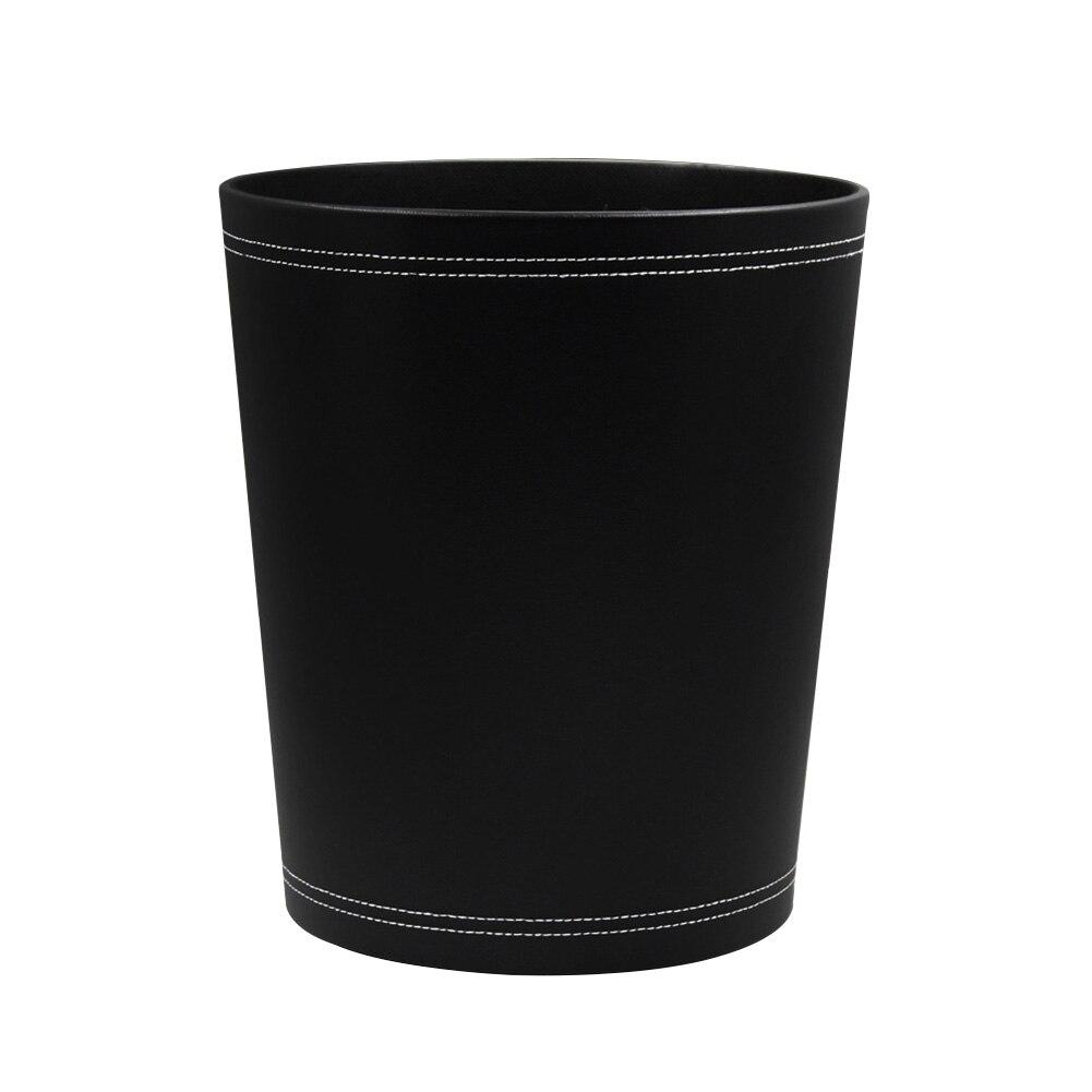 Ev ve Bahçe'ten Atık Kovaları'de Ev Banyo Modern çöp tenekesi Çöp Kutusu Atık Kağıt Sepeti PU Deri Mutfak Yuvarlak Oturma Odası Çöp Büyük Kapasiteli Otel Ofis title=