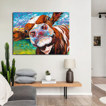 Cow Colorful Graffiti Wallpaper Canvas Painting Print Living Room Home Decor Modern Wall Art Oil Painting Poster Salon Pictures(China)