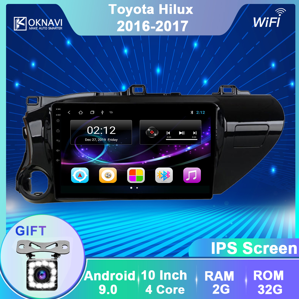 OKNAVI 2 Din Android 9.0 Car Player GPS Navigation Multimedia For  TOYOTA Hilux 2016 2017 Car Stero Navigation Radio WIFI No DVD