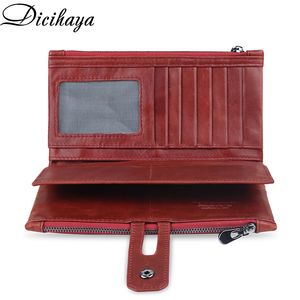 Image 3 - DICIHAYA Brand Genuine Leather Women Wallet Red Purse Ladies Clutch Purses Card Holder Women Phone Bags Double Zippers Wallets