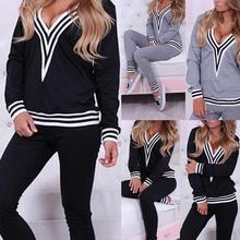 2pcs/Set Women's Pajama Sets Casual Hoodies Women Autumn Solid Color Hooded Sweatshirt Pants Women's