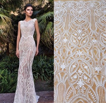 New  high-end European mesh sequins Slim wedding dress embroidery fabric cloth DIY accessories wedding dress fabric french lace 110cm wide wedding dress lace embroidery diy women clothes materials clothing fabric accessories ivory white church happy hour