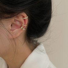 Earrings for Women Three Piece Set of Simple Crystal Student Ear Bone Clip Without Ear Hole Jewelry Wholesale