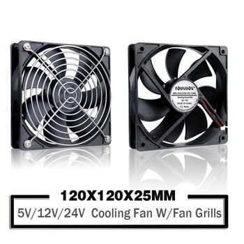 YOUNUON-ventilador de refrigeración sin escobillas, 5V, 12V, 24V, 120mm, 120x120x25mm, para PC, funda de ordenador portátil 1
