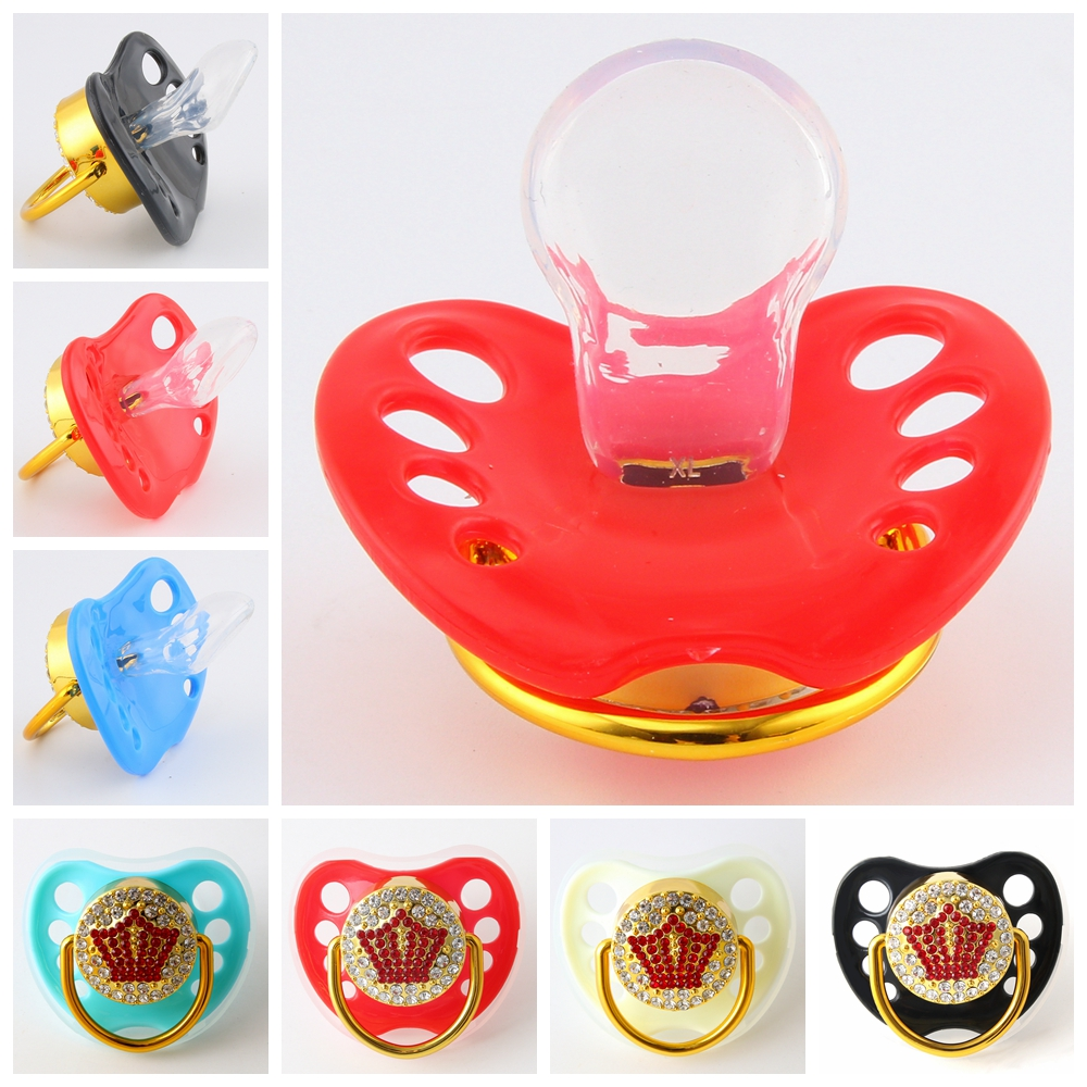 Big Size Abdl Pacifier Bling Red Crown Adult Pacifier BPA Free Silicone Nipple Dummy Pacifier For Adult