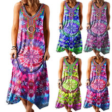 New Ethnic Boho Loose Printed Round Neck Vest Beach Floral Sleeveless Female Holiday Sexy Sling Long Dress Women's Clothing