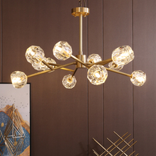 Post-modern Simple American Copper Crystal Chandelier Lighting and Luxury Dining Room Lustre Magic Bean Molecular Hanging Lamps