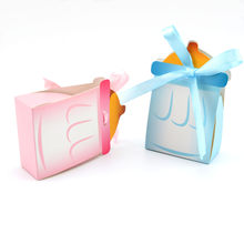 Pink/Blue Nursing Bottle Shaped Baby Favor Boxes Baby Shower Favor Bags Gift Box For Baby Girl Baby Boy(China)
