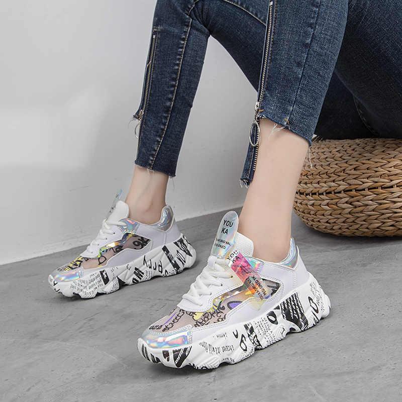 2019 frühling Weibliche Dicken Boden Turnschuhe Mischfarben Runde Kappe Plattform Schuhe Frauen Wohnungen Casual Schuhe Damen Laufschuhe