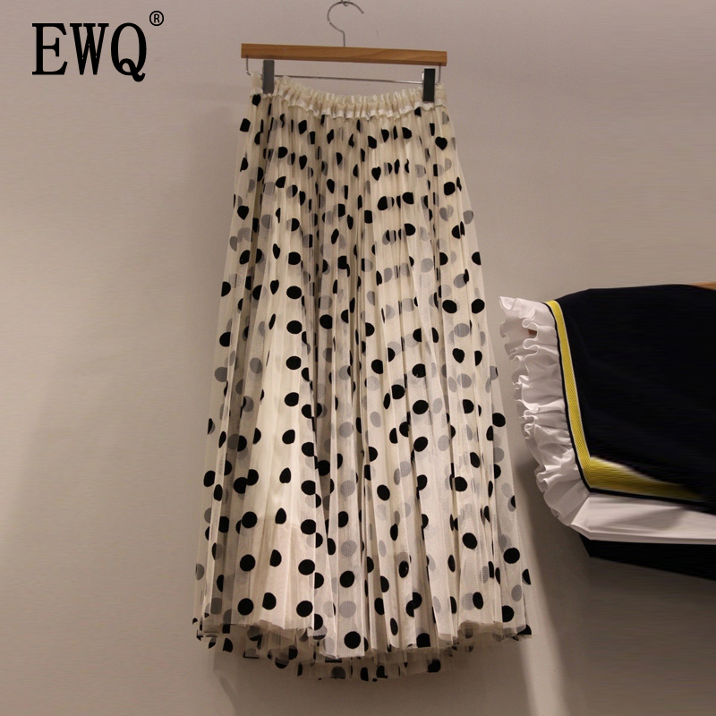 [EWQ] 2020 Summer New Fashion Elastic High Waist Dot Print Patchwork Fold Vintage Loose Skirt Women Fashion Tide AE75504