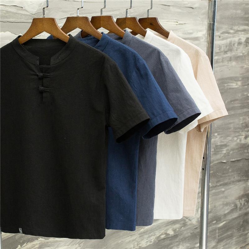 (Koszula + spodnie) New Arrival lato styl mężczyźni bawełniane i lniane koszule wysokiej jakości moda Casual solidne męskie koszule M-5XL