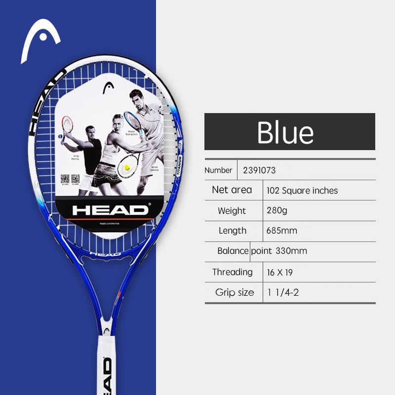 Professional HEAD Tennis Racket Large With Tennis Racket Sports Bag For Male Female Strings Are Fixed Well Overgrip Padel Tennis