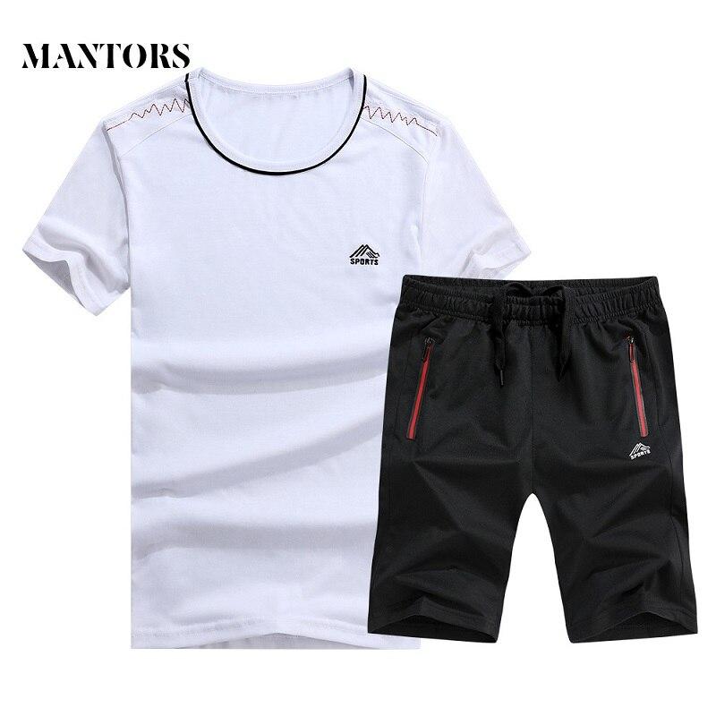 Summer New Men Set Casual Short Suits 2019 Men's Sportswear T-shirts+Shorts 2PC Sets Male Slim Fit Tracksuit Moletom Masculino