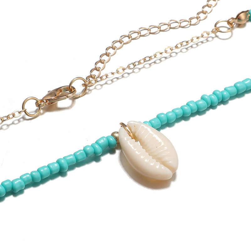 Docona verde blanco cuentas Shell gargantilla Boho collar mujer chica ajustable cadena collares gargantilla collar joyería collares 6947