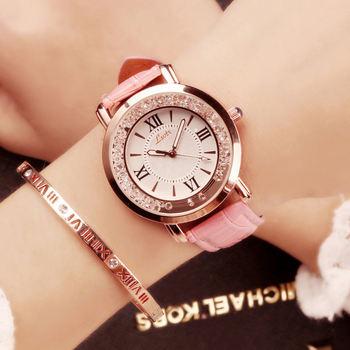 Minimalist Women Watches Fashion Simple Quartz Watch Rhinestone Dial Watch Luxury Casual Pink Leather Strap Dress Clock relogios