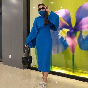 Image 1 - Robe pull deux pièces pour femme, tenue gilet moulante, tricotée, ample, col roulé, haut court et longue fendue, automne et hiver