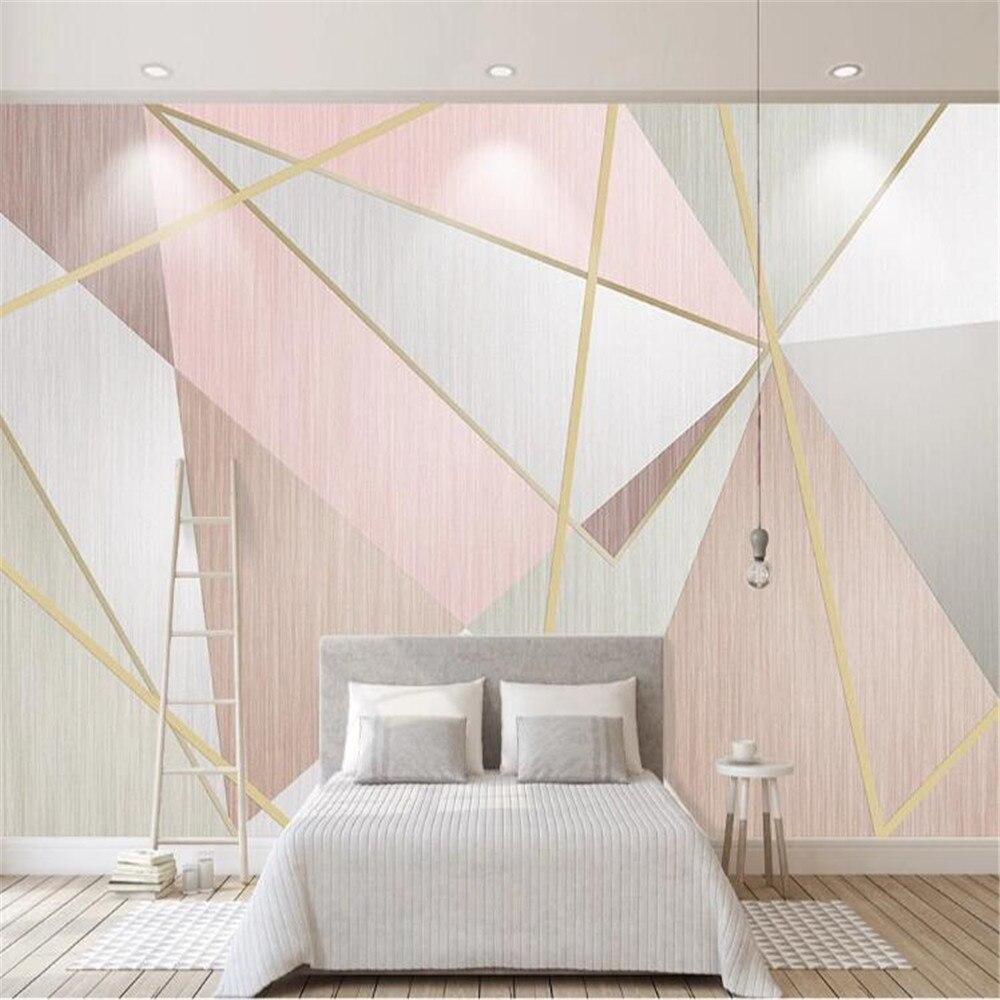 Milofi Nordic Pink Small Fresh Fashion Geometric Triangle Background Wall Design Mural