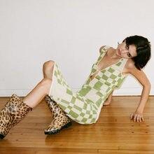 Y2K-vestido Vintage de verano con tirantes finos para mujer, vestido Sexy ajustado con espalda descubierta a cuadros, vestidos de fiesta para mujer 2021